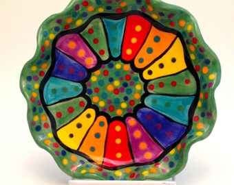 One Breakfast or Dessert or Salad Plate Dotted Rainbow  Handmade Ceramic Stoneware Made to Order PL0008