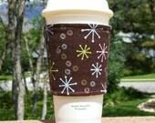FREE SHIPPING UPGRADE with minimum -  Fabric coffee cozy / cup sleeve / coffee sleeve / coffee cup holder / Pastel Starbursts on Brown