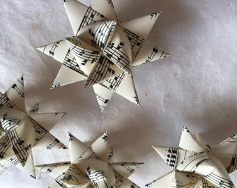 75% off* German Paper Origami Star Ornament Sculpture (3 inch, Vintage Music) special