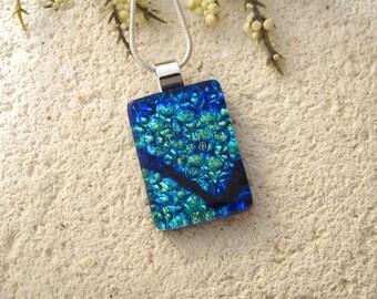 Petite Cobalt Blue Necklace, Dichroic Glass Jewelry, Fused Glass Jewelry, Dichroic Glass Jewelry, Aqua  Dichroic Pendant Necklace 051715p101