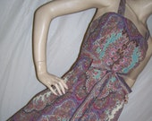 Hippie Maxi Sundress Ralph Lauren Sheet Custom OOAK Paisley Tapestry Brown Burgundy Pink Orange Cruise Resort Long Dress Adult S M L XL XXL