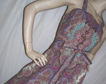 Hippie Maxi Sundress Ralph Lauren Sheet Custom OOAK Paisley Tapestry Brown Burgundy Pink Orange Cruise Resort Long Dress Adult S M L XL XXL