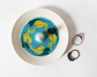 Swirled Glazes Ring Dish, Wheel Thrown, Clay Pottery Ring Holder, ready to mail