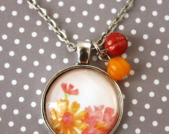 Pendant Necklace - Pink & Yellow Flowers with beads