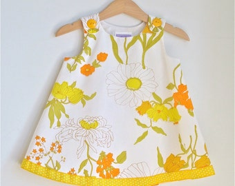 Yellow Wildflower Girls Dress, Toddler Dress, Baby Dress, Newborn Dress, Floral Dress,  Girls Sundress, Botanical Dress, Newborn to 4T