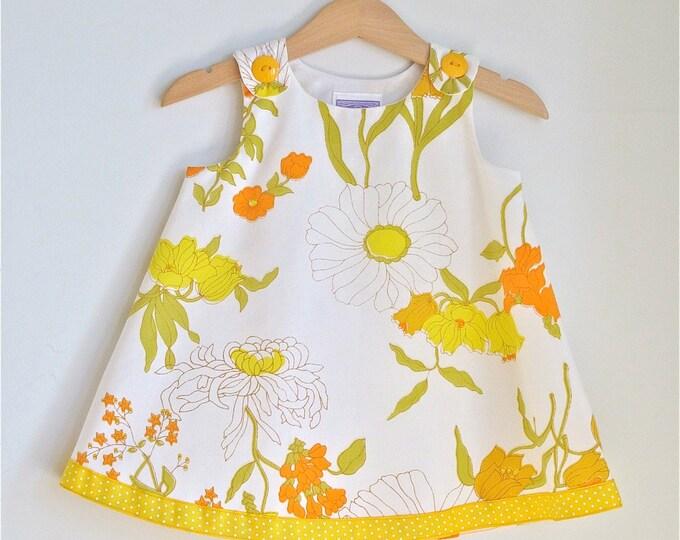 Yellow Wildflower Girls Dress, Toddler Dress, Baby Dress, Newborn Dress, Floral Dress,  Girls Sundress, Botanical Dress, Newborn to 4T