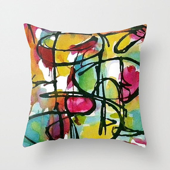 Modern Art Pillow : Abstract Modern Art Pillow Cover: 16x16 18x18 or by TinaCarroll