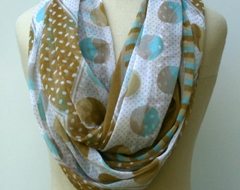 Teal almond Infinity scarf, Loop scarf, Eternity scarf, circle scarf handmade upcycled Indian Ethnic hippie Boho scarf, India scarf, vintage