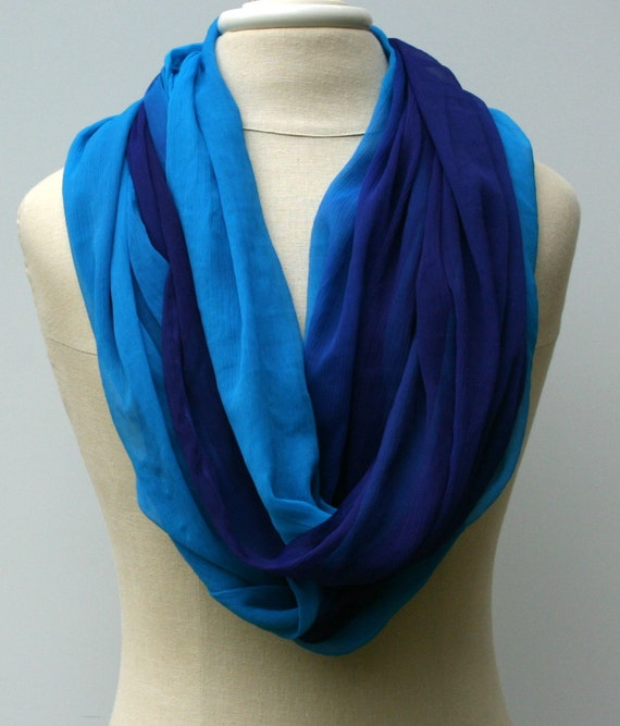 purple teal blue infinity scarf loop scarf by