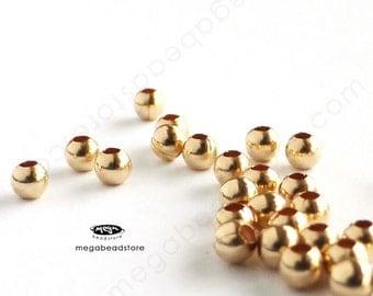 100 pcs 2.5mm 14K Gold Filled Round Beads Spacers B39GF