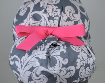 Womens Perfect Fit Ponytail Surgical Scrub Hat Cap- Gray Damask