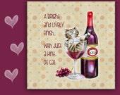 CAT TRIVET, Cat Tile, Drunk Cat, Cat in a Wine Glass, Porcelain Cat Tile. Cat Spoon Rest, Cat sign, Cat lover gift