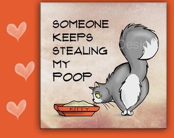 CAT SPOON REST - Cat Tile - Cat Trivet,  Poop Sign - Cat Litterbox Sign - Funny Cat Art