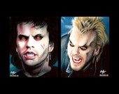 "Prints 8x10"" - Michael vs. David Van Etten - The Lost Boys Vampire Horror Dark Art Blood Kiefer Sutherland 80s Gothic Halloween Zombie Pop"