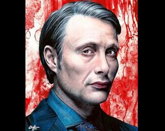 "Print 8x10"" - Dr. Hannibal Lecter - TV Show Dark Art Mads Mikkelson Will Graham Blood Cannibal Serial Killers Death Horror Pop Art Meat"