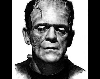 "Print 8x10"" - Frankenstein's Monster - Frankenstein Portrait Dracula Classic Monster Horror Halloween Pop Gothic Vintage Dark Art"