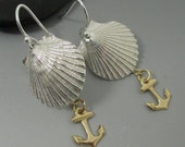 Fine Silver .999 Shell with 14kt Gold Filled Anchor Sterling Silver Earrings