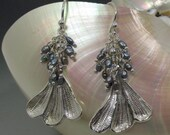 Gingko Leaves .999 Fine Silver Earrings with Cascades of Peacock Freshwater Pearls