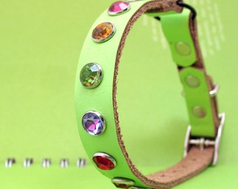 Lemon Lime Leather Cat Collar with Jewel Tone Crystals, Eco-Friendly, to fit a 8-10 Neck, Reclaimed Leather, OOAK