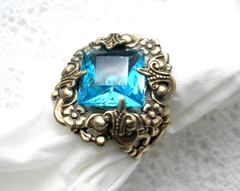 Out of the Mist - Aquamarine Glass and Brass Adjustable Ring
