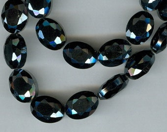 12x9mm Black Chinese Crystal Designer Faceted Oval Beads 30 Beads