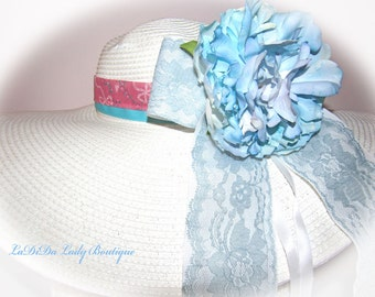 Monogrammed Shabby Chic Floppy Hat Bride Wedding Easter Derby Cup Race Custom sewn ribbons w lace & florals Blue and Pink OOAK NEW ITEM!