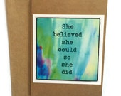 Handmade, Greeting Card, Mixed Media, Kraft Card 'she believed she could so she did'  by Kristie Banham Coco's Closet