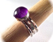 10mm Amethyst Deep Purple Cab Ring with 2 Sterling Hammered Bands - Total of 3 STACKING Rings - Size 5