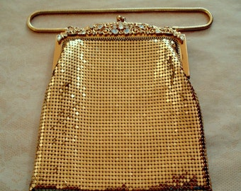 Vintage Whiting & Davis Gold Mesh Purse with Rhinestone Frame