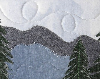 Fabric Postcard Handmade Quilted Postcard  Postcard Art Landscape Art Hills  Greeting Cards Pine Trees Nature Landscape Smoky Mountains