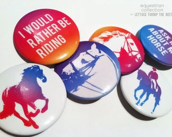 "equestrian pinback button set - 6 pack - 1.5"" each - original designs - meant to ship alone"