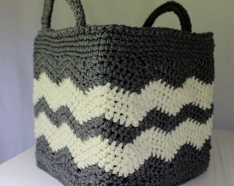 Square Crochet Basket Pattern w/Handles - Drop Over Lace Option - Chevron Square Cubicle Cover - No. 96