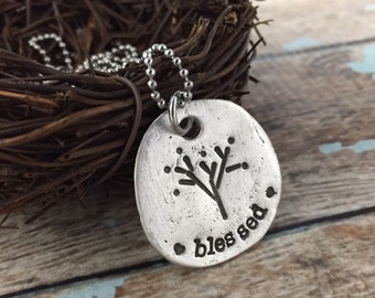 BLESSED Hand Stamped Necklace PMC