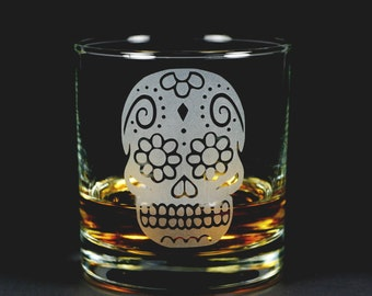 Sugar Skull Lowball Glass - Day of the Dead scotch whiskey etched glassware