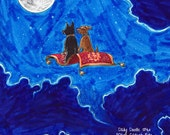No.161 Magic Carpet Ride / Original Artwork / Daily Doodle / Art Print / Cute Dog Drawing / Sweet Doggies