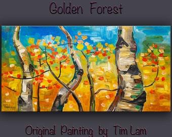 """Art painting, 48"""" art, Original painting, abstract art, oil painting, Home art, Wall Art, Modern art, tim Lam -- Gold autumn birch blue sky"""