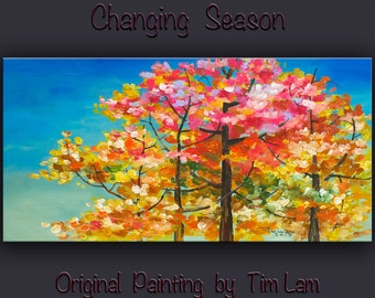 Fall Forest tree sky, Contemporary painting Autumn Natural Organic Art 48x24x1