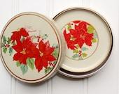 Clearance Sale - Vintage Lacquerware Coaster Set - Melmac - Melamine - Poinsettias - Holiday Christmas