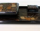 Vintage Lacquerware Desk Set - Bronze Gold Gray Leaves on Black - 3 Pieces