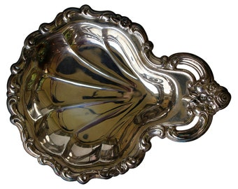 Ornate Silver Plate Shell Dish