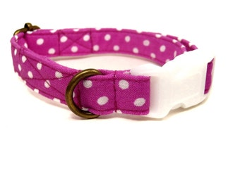 African Violet - Organic Cotton CAT Collar Purple White Polka Dot Breakaway Safety - All Antique Brass Hardware