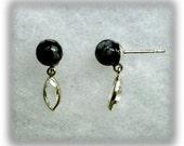 6mm Snowflake Obsidian Beads and 8x4mm Diamond Quartz Gemstones in 925 Sterling Silver Dangle Earrings