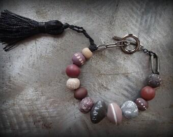 Bohemian Bracelet, Clay Beads, Black Tassel, Handmade, Original, Hand Painted