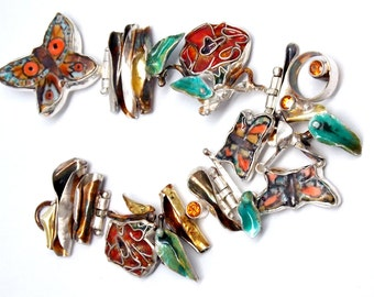 Statement Art Bracelet, Butterfly Bracelet, Porcelain Jewerly, Enamel Jewelry, Cloisonne Flower Bracelet