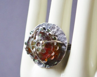 Spores Ring Made With Handmade Glass