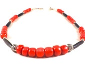 Red Coral Necklace, Red Coral Jewelry, Ethnic Necklace, Ethnic Jewelry, African Necklace, African Jewelry, Boho Chic Necklace, Boho Jewelry