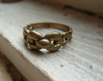 FREE SHIPPING Vintage Brasstone Unisex Band Industrial Modern Design Ring - Size 8