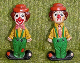 Vintage ceramic two faced Clown figurine, Happy Sad, colorful, hand painted, 70s, circus clown, home decor
