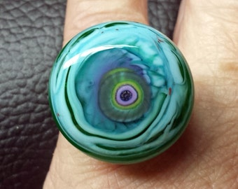Ring Top Interchangeable Lampwork Glass Cabachon Seafoam  SRA