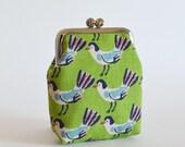 Card Case Business Card Holder Frame Purse Coin Purse Tweet Tweet Birds Apple Green